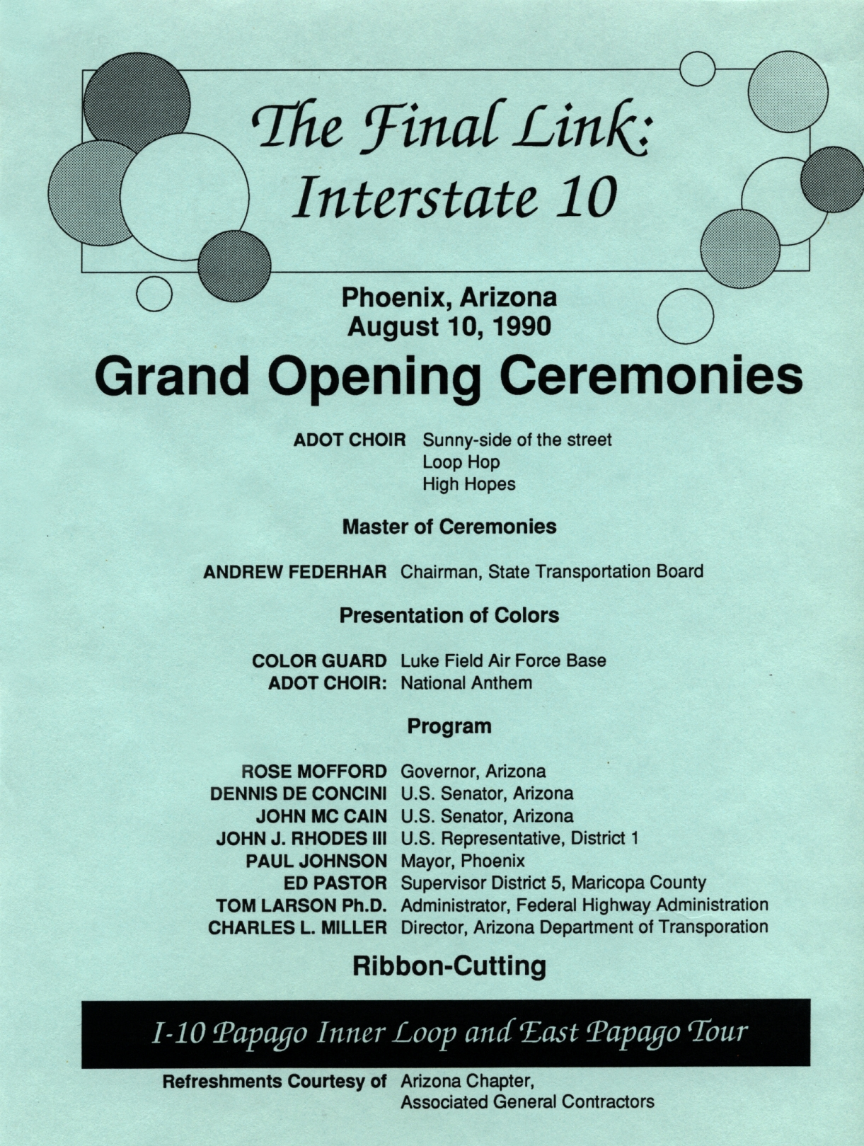 Invitation to the grand opening ceremonies for the final link of I-10