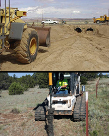 Innovations included a new way to clear drainage culverts (top) and a fence-repair method that uses an auger adapter to quickly coil barbed wire.