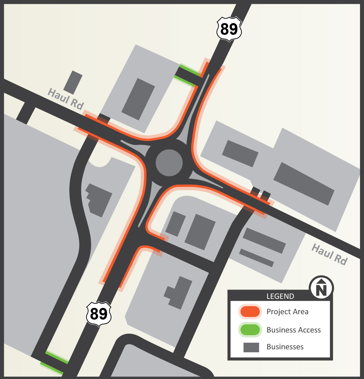 Project area map with new roundabout