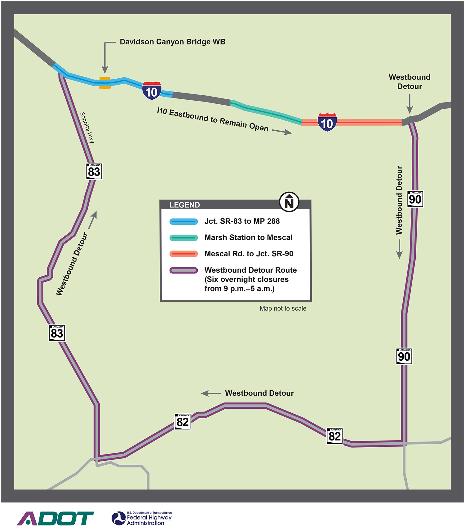 Detour map for westbound I-10 closure