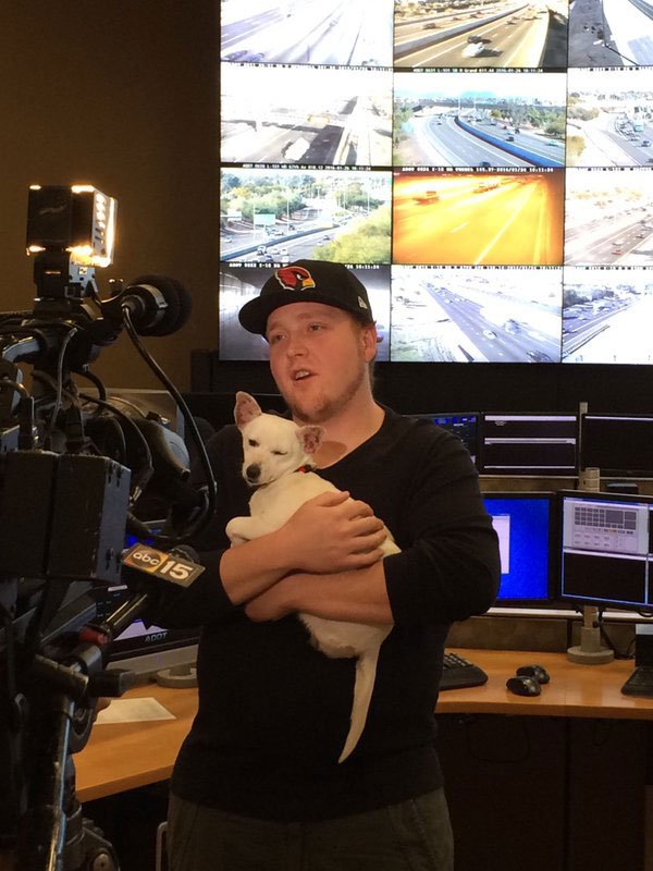 ADOT Traffic operator Jayson Winter took care of the dog overnight after she was rescued from SR 51.