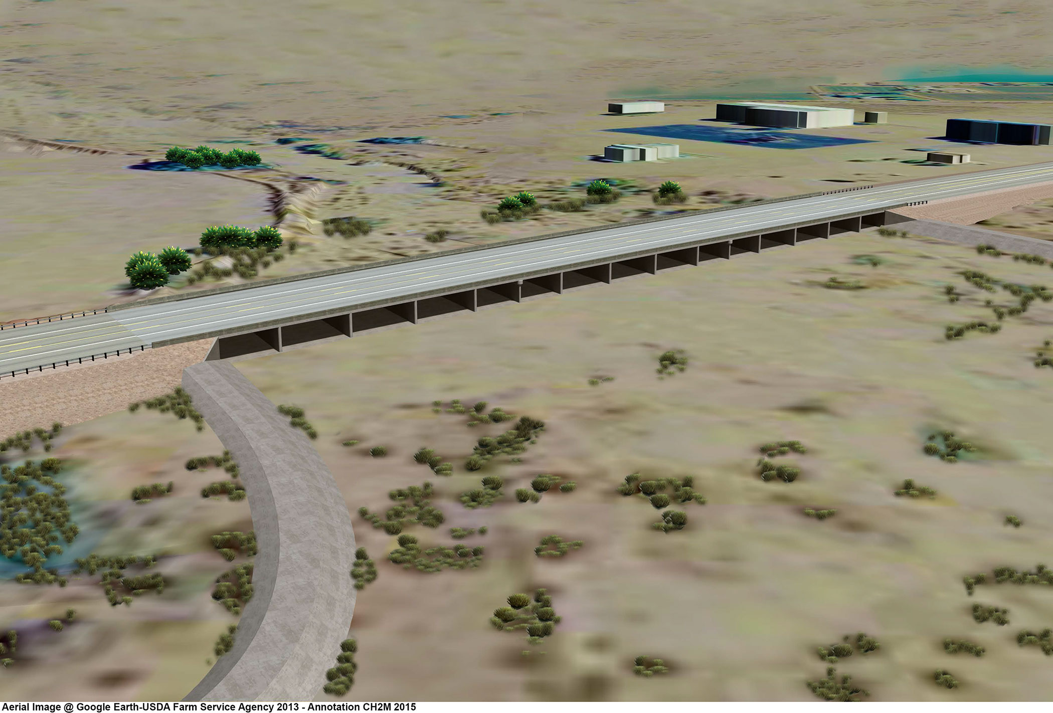A rendering of the bridge that will span flood-prone Fortuna Wash on US 95.