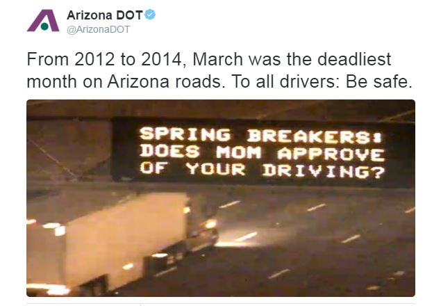 Dynamic Message Sign - Spring Breakers: Does Mom Approve of Your Driving?