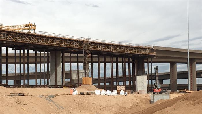Loop 303 - I-10 Interchange south ramp under construction.