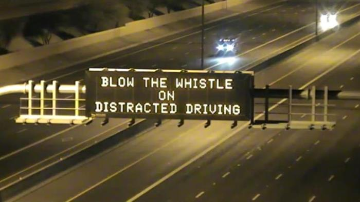 Dynamic Message Sign: Blow the whistle on distracted driving