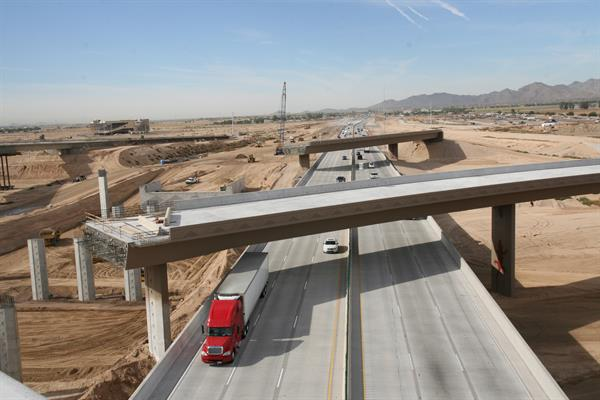 construction of the Loop 303 and Interstate 10 interchange