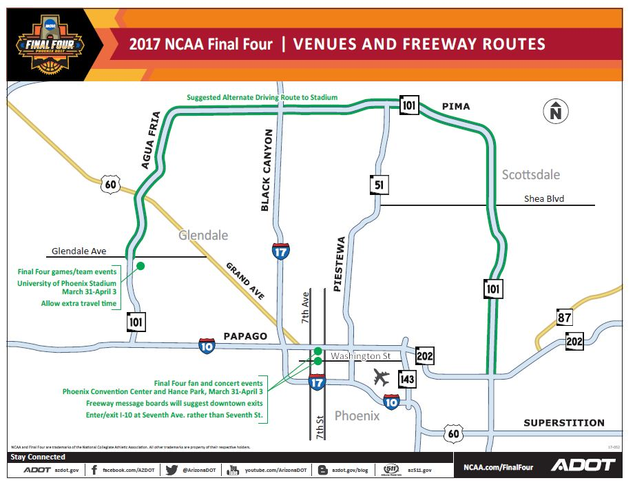 2017 NCAA Final Four Event Venues and Freeway Routes