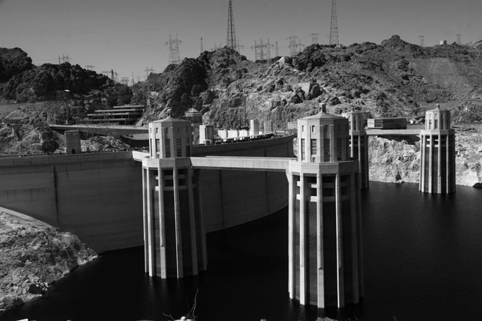 Black and White photo of Hoover Dams 4 intake towers.