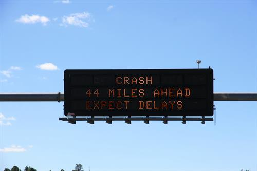 """Dynamic Message Board: """"Crash 44 Miles Ahead - Expect Delays"""""""