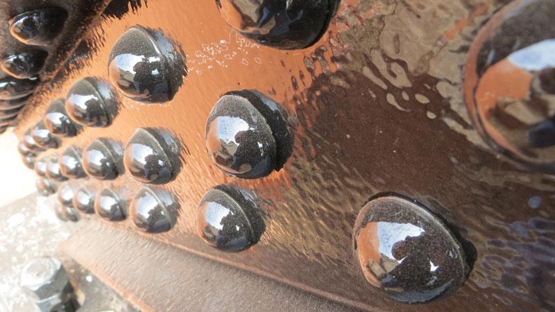 Close up of the rivets on Chevelon Creek Bridge