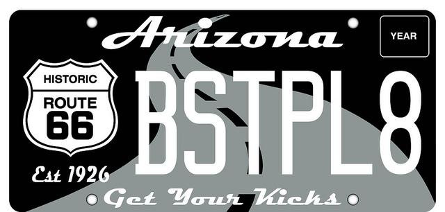 AZ Route 66 License Plate