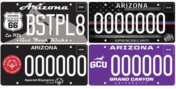 Four new license plates, Historic Route 66, Supporting Public Safety, Special Olympics, Grand Canyon University.