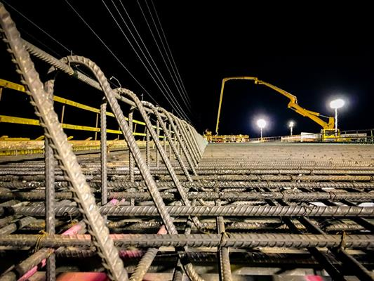 Lattice work of rebar forms the deck of the new Ina Road Bridge.