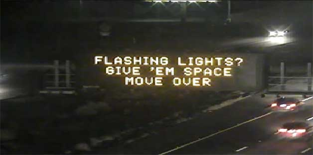 Flashing Lights? Give'em space - move over.