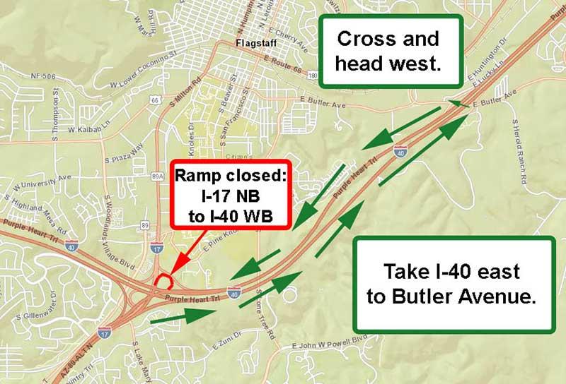 I-17 / I-40 detour Map