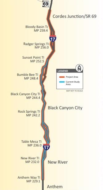 I-17 Improvements Project Map