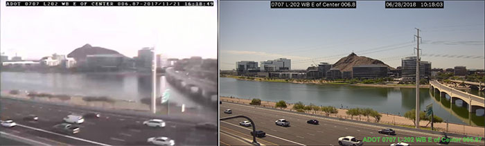 Different quality traffic camera shots