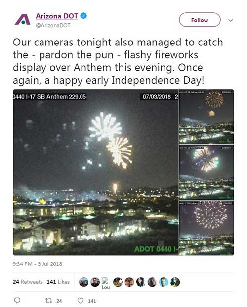 Fireworks on Traffic Cameras