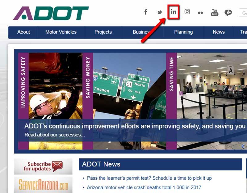 LinkedIn Icon on ADOT Homepage