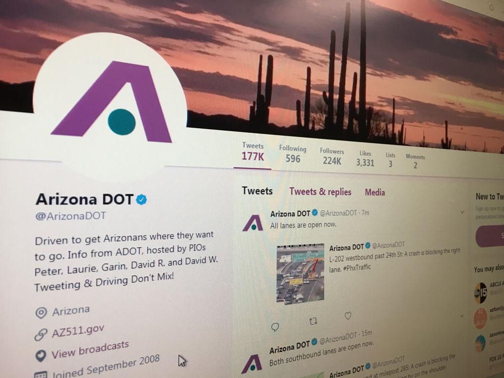 Screenshot of ADOT's Twitter page.