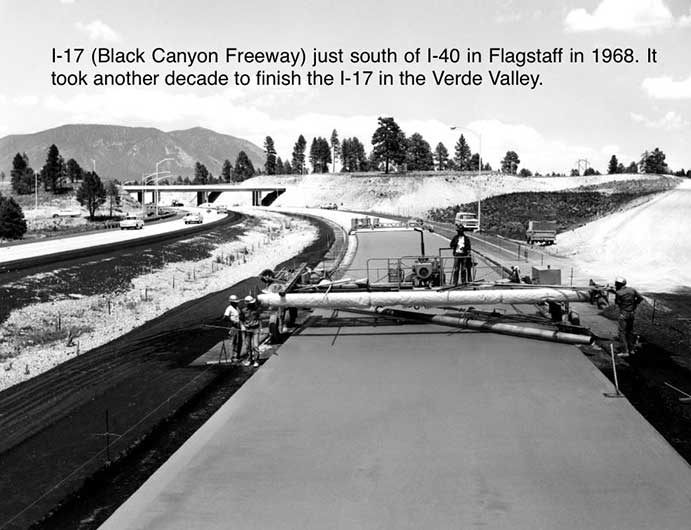 I-17 (Black Canyon Freeway) just south of I-40 in Flagstaff in 1968. It took another decade to finish I-17 in the Verde Valley.