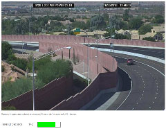 Traffic camera image with location in black bar at the top