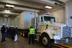 Tractor trailer in the inspection bay