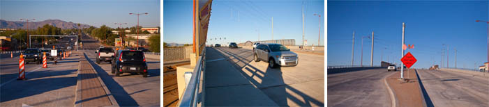 Three pictures of traffic on the newly opened Bell and US 60 overpass