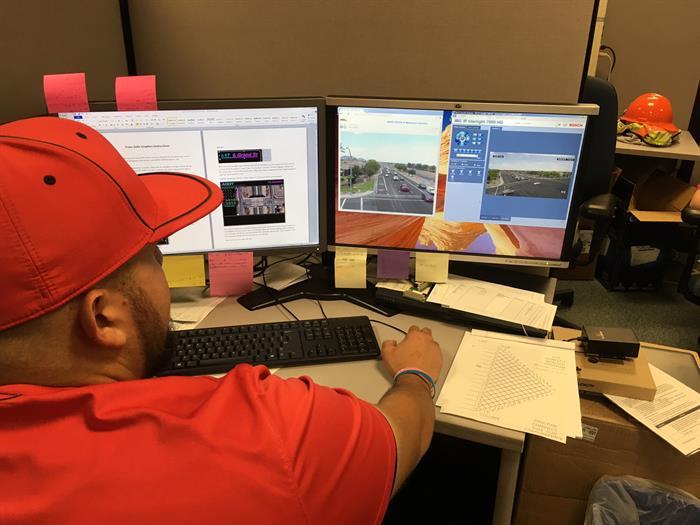 Employee monitors traffic remotely