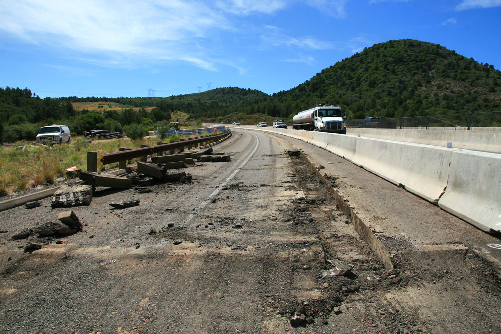 Section of State Route 87 reduced to one lane each way while crews repair the roadway.