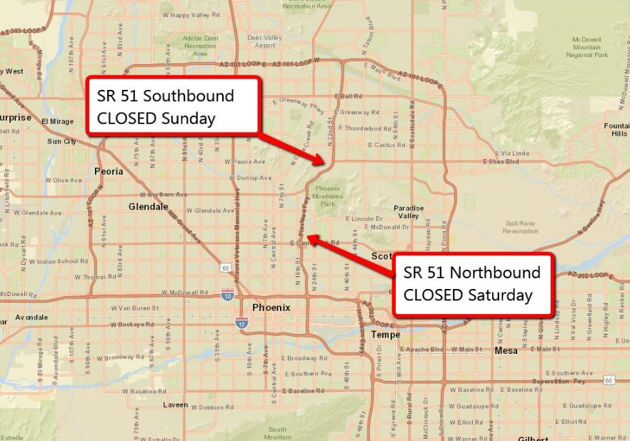 SR 51 Closure Map