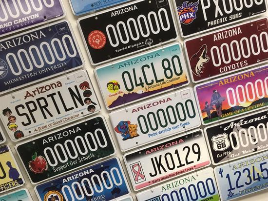 Speciality license plates.