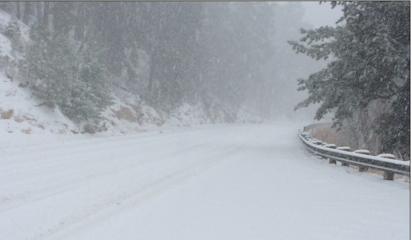 Snowy road on Mt. Lemmon.