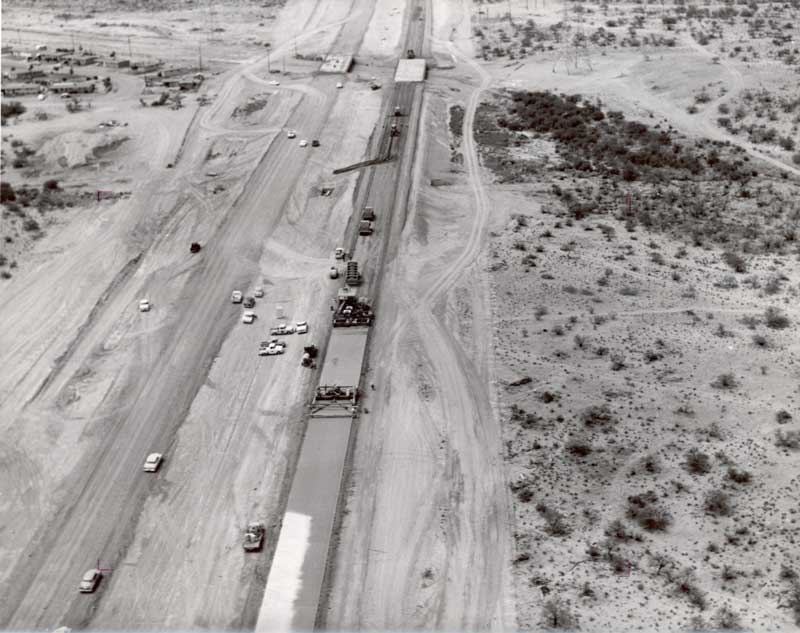 Black and white aerial view of I-19 from 1964