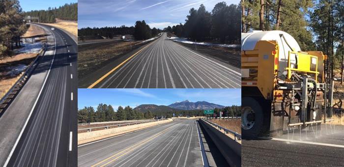 White stripes of anti-icer solution sprayed on highways around Flagstaff