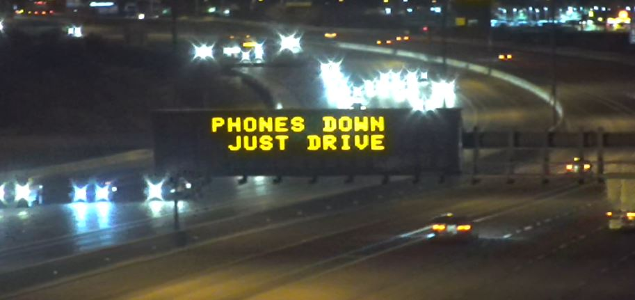 Dynamic Message Sign: Phones Down Just Drive
