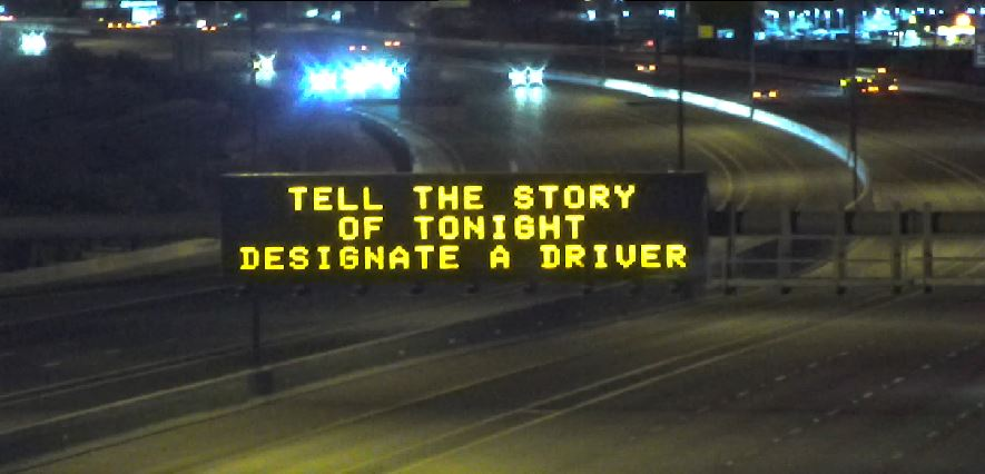 Dynamic Message Sign: Tell the story of tonight designate a driver
