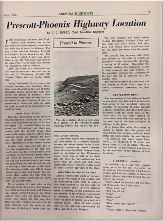 Article in July 1925 Arizona Highways magazine.