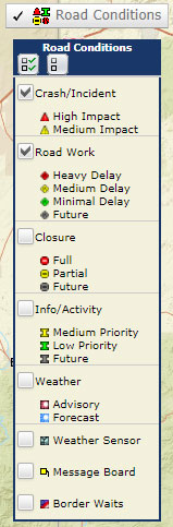 AZ511 Traffic Map Road Conditions legend