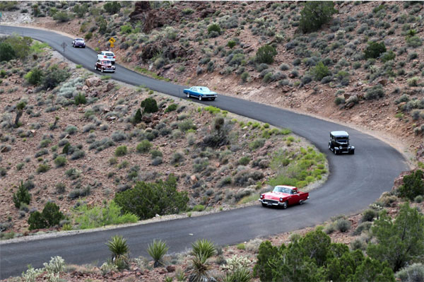 Vintage cars on the road to Oatman