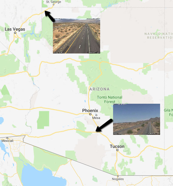 Map of Arizona with arrows pointing to new camera locations and overlay of the traffic camera images.