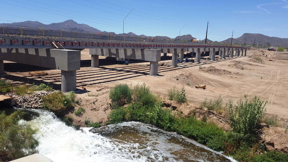 Side view of girders on the new Santa Cruz River bridge.