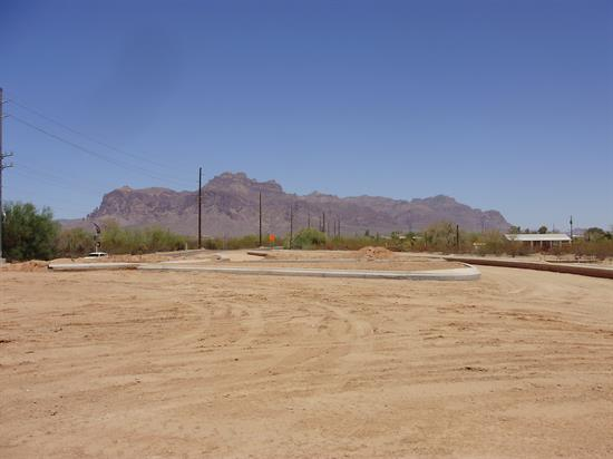 Land graded for new roundabout on SR 88 and Superstition Blvd.
