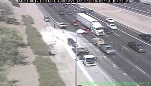 A recent crash on Interstate 10 in west Phoenix showed the shattered concrete debris along the edge of the highway.