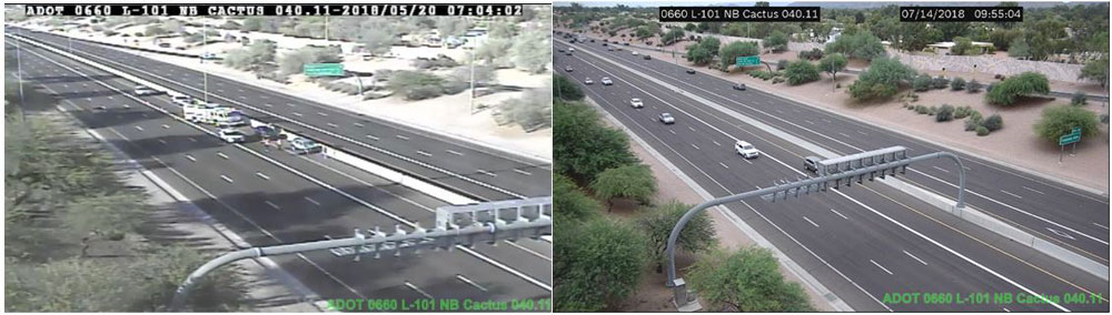 Two images of freeway traffic captured by new high definition traffic camera.
