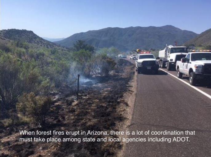 When forest fires erupt in Arizona, there is a lot of coordination that must take place among state and local agencies and ADOT. Trucks travels along should of roadway with smoldering fire.