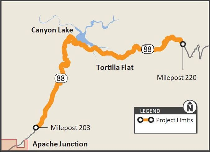 Map of project area with SR 88 from milepost 203 to 220 highlighted.