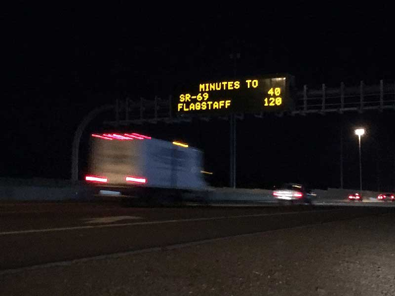 "Dynamic Message Signs - ""Minutes to SR 69: 40, Flagstaff: 120"""