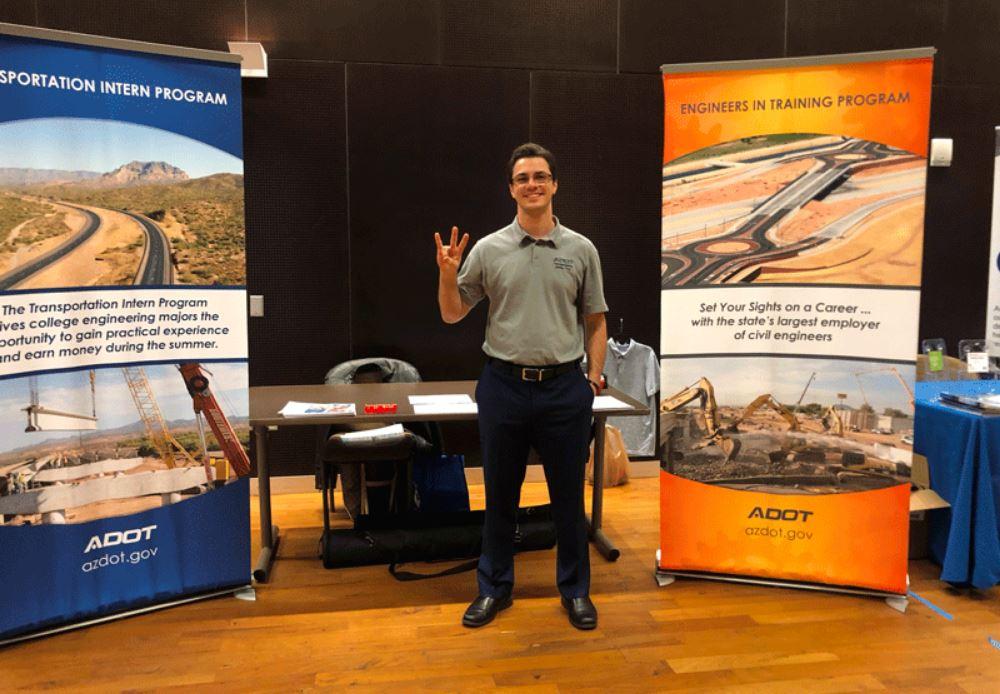 ADOT booth at job fairs held by Arizona State University, Northern Arizona University and University of Arizona.