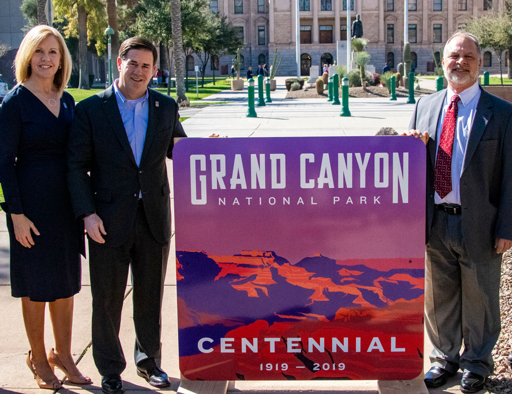 Dedication of Grand Canyon Centennial Sign Debbie Johnson, Director of the Arizona Office of Tourism, Governor Doug Ducey and ADOT Director John Halikowski